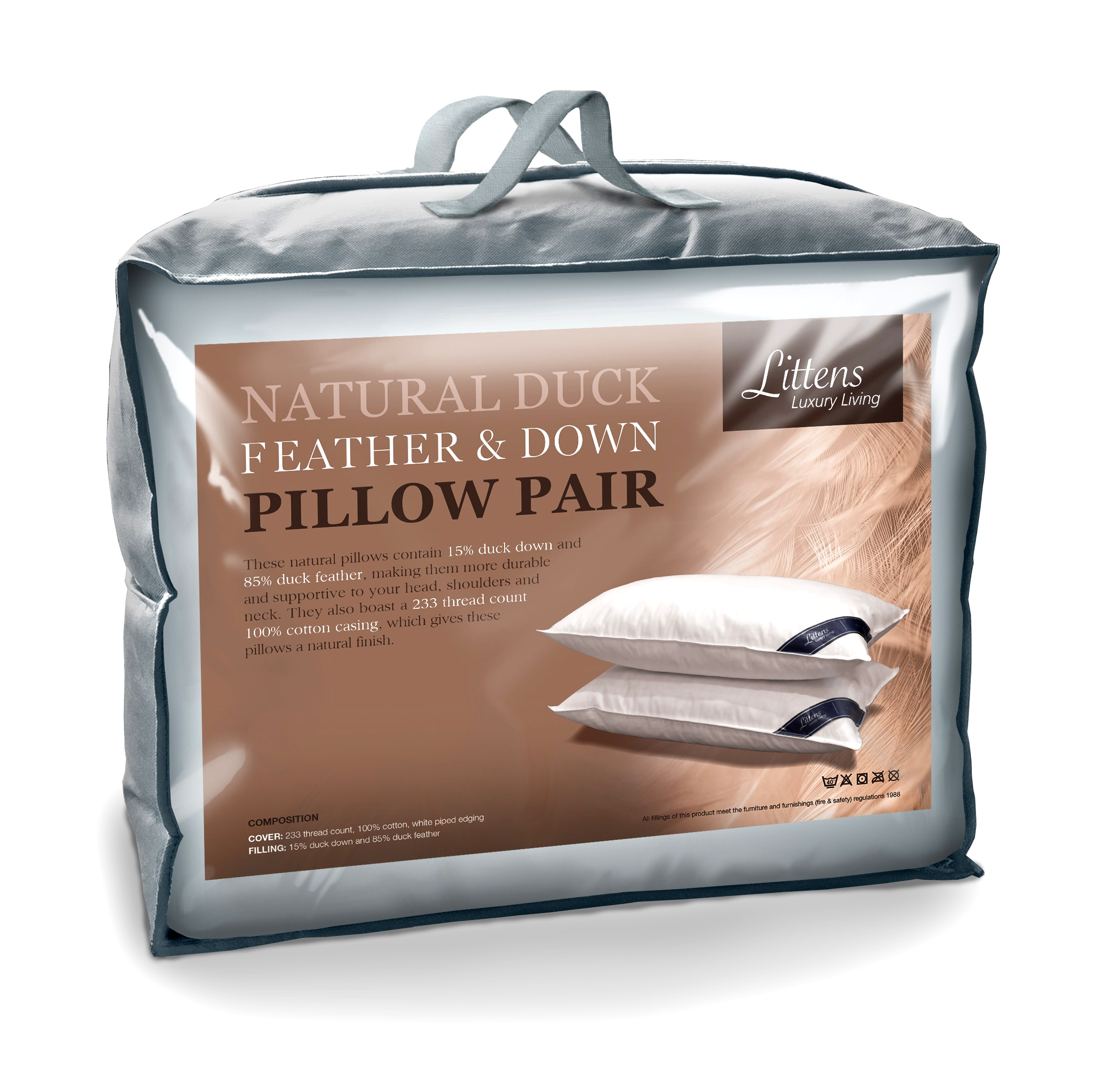2 x PAIR OF LUXURY DUCK FEATHER AND DOWN PILLOWS 85/% DUCK AND 15/% DOWN